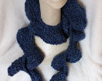 RUFFLE SCARF Hand Crocheted in Deep Ocean Blue Vegan Yarn