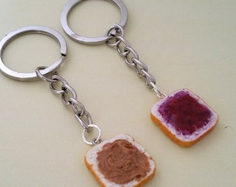 Miniature Cute BFF Peanut Butter Grape Jelly Keychain Set - Best Friend Forever- Best Friend's keychain