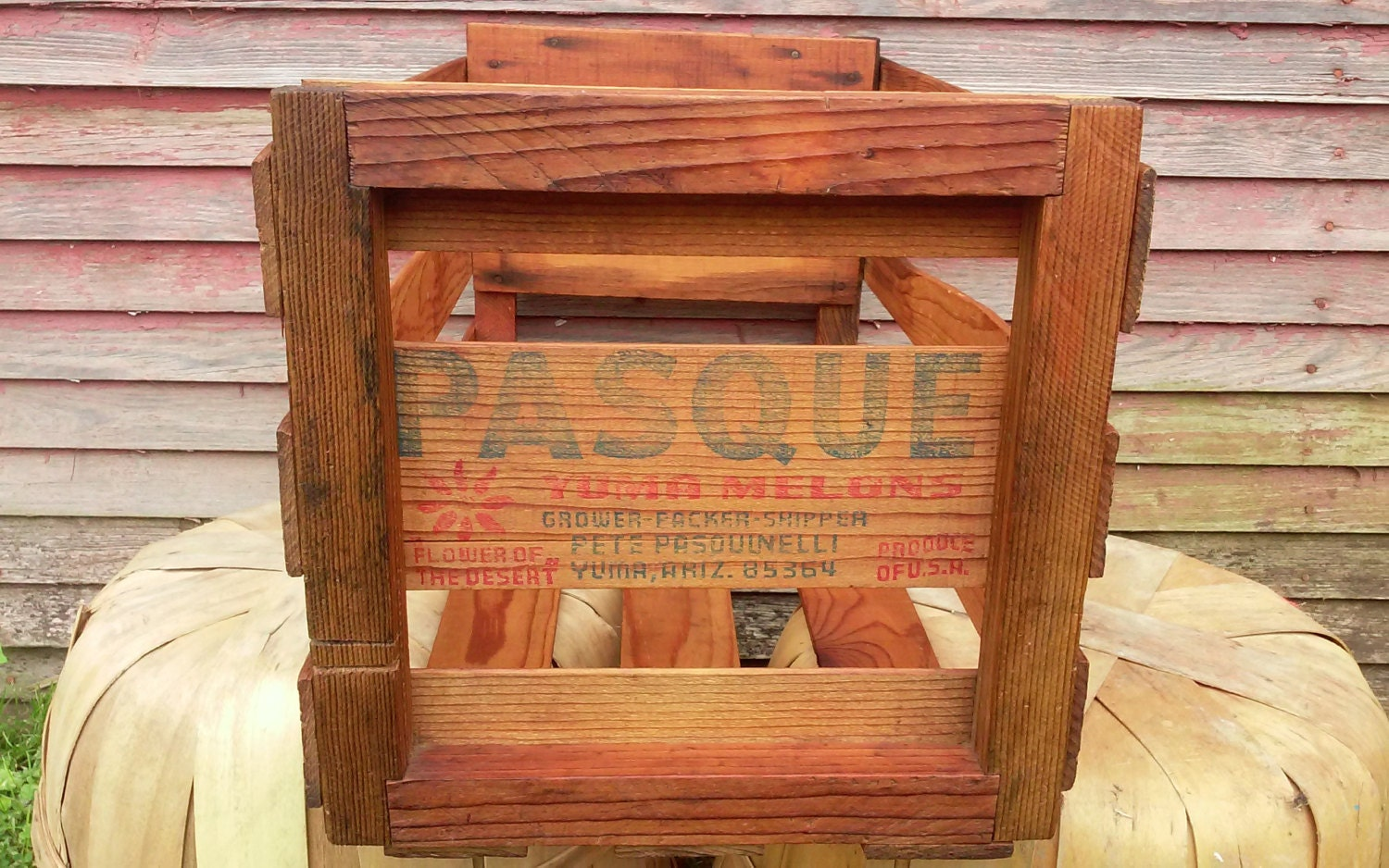 Vintage Produce Wooden Produce Crate Yuma Melon By