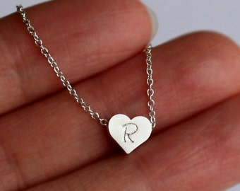 Personalized Initial heart necklace jewelry, Silver Heart necklace, Silver plated Heart,  flower girl,Bridesmaid Gift Idea necklace jewelry
