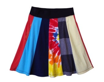 Womens M Medium Primary Colors and Tie Dye Upcycled T Shirt Skirt with yoga style waistband