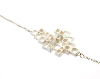 Necklace 'Block', pendant of silver squares, open squares