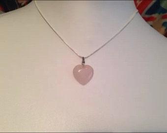 ROSE QUARTZ Gemstone Love HEART Romance Pendant Necklace