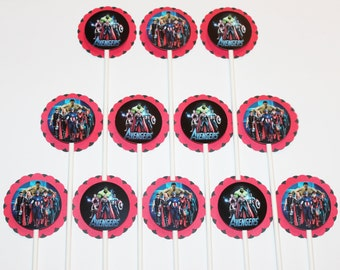 The Avengers Toppers, 12 count Cake Toppers, Superheroes Captain America, Hulk, Iron Man, and Thor
