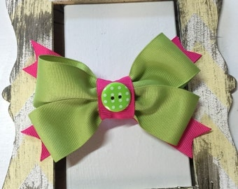 Pink and green hairbow