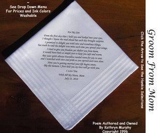 Grooms Gift Hankie From His Mom  0709 Sign & Date Free!      2 Wedding Hankerchief Styles and 8 Ink Colors. Grooms Wedding Hankie