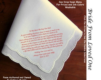 Gift for the Bride Hankie from Her Daughter ~ 0612 Sign & Date Free!  5 Brides Handkerchief Styles and 8 Ink Colors. Brides Hankerchief