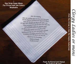 Gift for Clergy, Minister, Priest, Rabbi Handkerchief Thank You for Clergy Gift 1902 Mens or Ladies Sign & Date / 8 Ink Colors ~ Clergy Gift