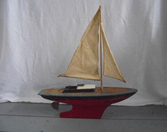 French vintage wooden sailing boat/French ship/crafts/folk art/1930/sailing yacht