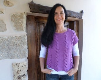 hand knitted cabled jumper