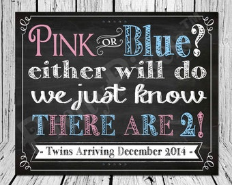 Pink or Blue Mommy's Expecting Twins Custom Pregnancy Announcement Chalkboard Wall Art new baby