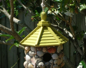 Summer Yellow Shell Encrusted Painted Wood Birdhouse with Natural Pearls and Seaglass 10 Inches Tall Indoor / Outdoor