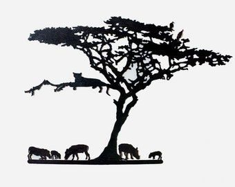 Leopard in an Acacia Tree and Warthogs
