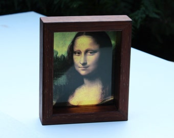 Mona Lisa Leonardo da Vinci Timber Frame see-through print that glows in natural  light