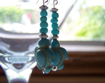 Turquoise Turtle Dangle Earrings