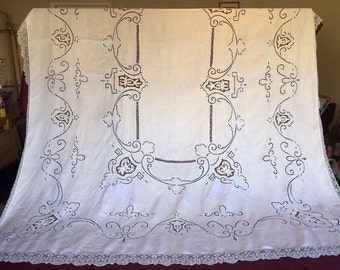 Early  Linen Tablecloth