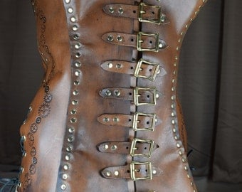 Steampunk Brown Leather Corset