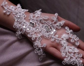 A Pair of Luxury Lace Applique,Wedding Dresses Accessories Applique,Bridal DIY Lace Trim