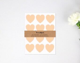 48 Peach Heart Shaped Sticker