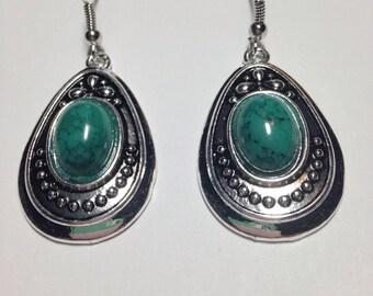 Green Turquoise Tibetan Silver Earrings ON CLEARANCE