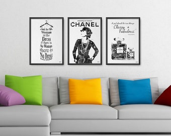 Fashion Set of 3 Prints, Black and White Coco Quote Typography Fashion, Dress Watercolor Art Home Decor, Wall Hanging Watercolor (No A055)
