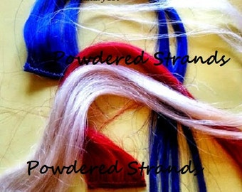 Red Blonde and Blue Clip in hair highlight Clipin colored Patriotic steaks