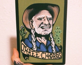 Good Ol' Willie- Hand painted portrait of Willie Nelson