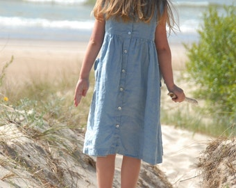 Blue Linen Dress with Pleats
