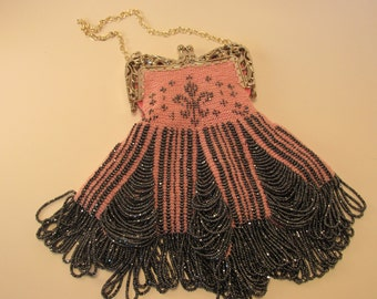Hand Knitted Beaded Bag