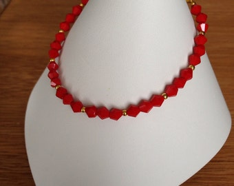 Ruby red beaded bracelet