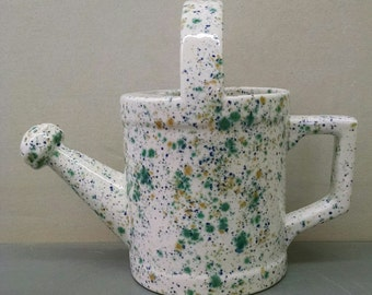 SeaWind Watering Can--Hand-Painted--Glazed Ceramic Bisque--Home-Patio-Garden Decor--Seasonal-Year Round Usage