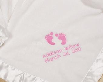 Embroidered Baby Feet Fleece Blanket- Boy or Girl, Personalized Pink Baby Feet Blanket, Personalized Blue Baby Feet Blanket