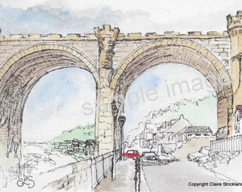 The Viaduct, Waterside, Knaresborough. - Giclee Print of Original Watercolour and Pen Drawing by English Artist Claire Strickland