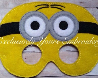 Two Eyed Yellow Monster Children's Mask  - Costume - Theater - Dress Up - Halloween - Face Mask - Pretend Play - Party Favor