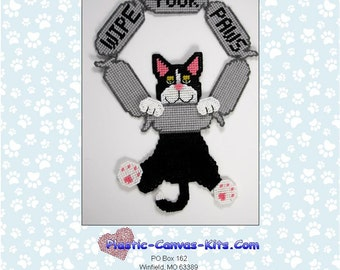 Wipe Your Paws-Black Cat- Plastic Canvas Pattern-PDF Download
