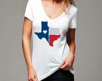 Texas Love:  Buffalo Drygoods Ladies Jersey Deep V-neck t-shirt, Bella/Canvas - Texas flag with heart