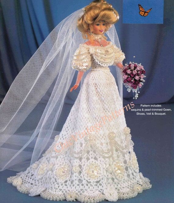 Crochet wedding dress barbie size by chicvintagepatterns for Wedding dress patterns free download