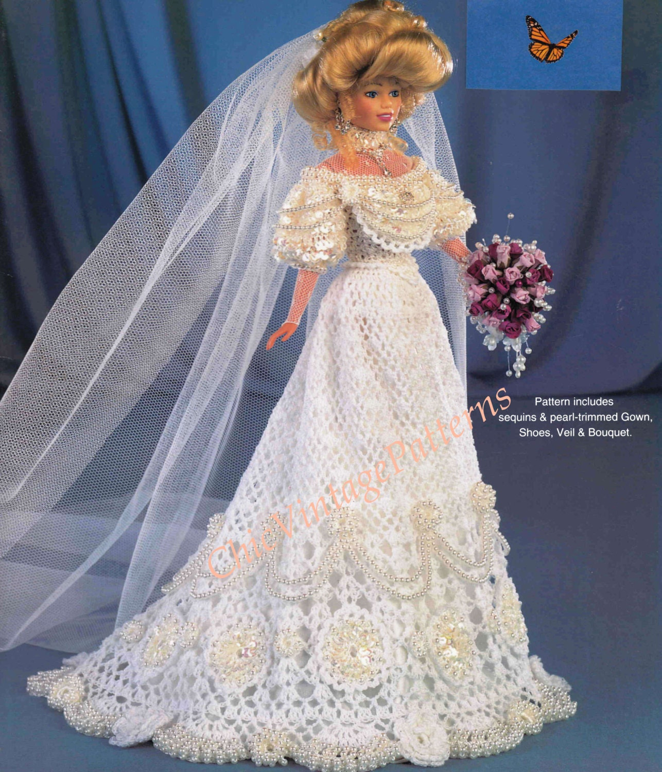Crochet wedding dress barbie size by chicvintagepatterns for How to make a barbie wedding dress
