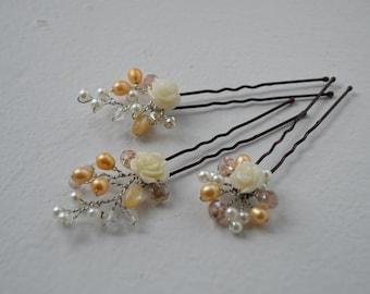 Set of 3 bridal hair pins