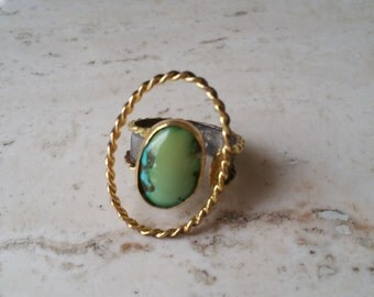 Handmade Oxidized Sterling Silver Natural Turquoise Gemstone Ring