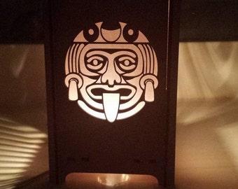Table lamp, Night light, lantern, laser cut candle box, table lamp , aztec  sun god