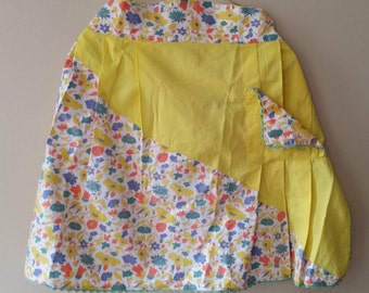 Vintage Yellow and Floral Pattern Pleated Half Apron