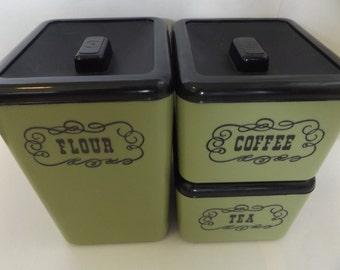 Vintage Set of 3 Green Plastic Canisters / Flour Tea Coffee / Beacon Plastics / 60's  Canister Set (#028)