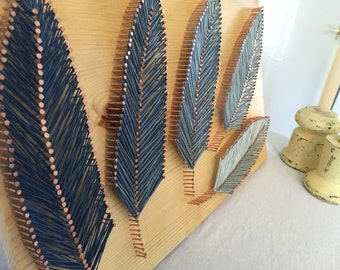 Fading Blue Feather String Art
