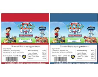 Paw Patrol Personalized birthday Candy Bar Wrapper