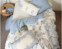 PAISLEY - Luxury Handcrafted Muslin Cotton Super King Size 5pcs Quilt Cover Set BLUE