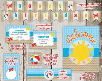 Beach Birthday Invitation Party Package / Pack / Set / Supplies - Easy Printables! - Instant Digital File Downloads
