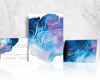 Wedding Invitation Suite - Water Colour, Modern, Typography, Fun