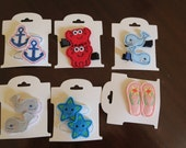 Felties (pair for 5) anchor crab flip flop turkey starfish whale princess carriage horse hair clips OR add to one of our bows or headbands!