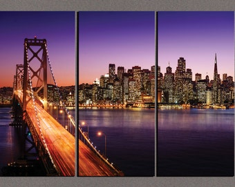 Framed Huge 3-Panel Canvas Gallery Wrap - San Francisco Skyline and Bay Bridge - 42x30x1""